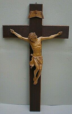 Large Vintage Black Forest Swiss Carving Wall Hanging Crucifix