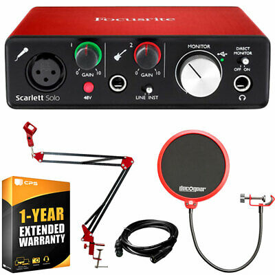 Focusrite Scarlett Solo USB Audio Interface 2nd Gen + Deco Gear Accessories Kit