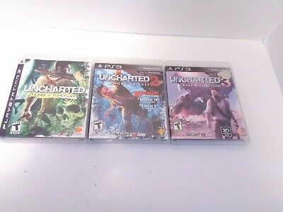Uncharted 3 Game Bundle PS3 Drake's Fortune Deception & Among Thieves Complete!