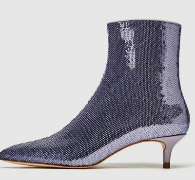 4c1a330cc3d ZARA AUBERGINE SATIN High Heel Ankle Boots/Booties - $56.00 | PicClick