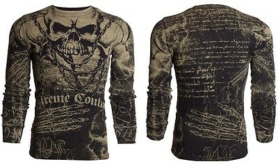 XTREME COUTURE by AFFLICTION Mens LONG SLEEVE T-Shirt KILLER Biker Black $58