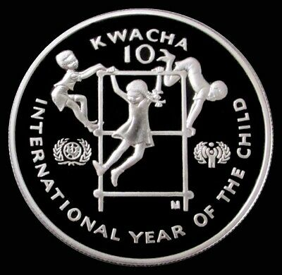 1980 Silver Zambia Proof 10 Kwacha International Year Of Child In Capsule