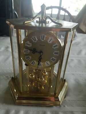Vintage Kundo anniversary clock With Etched glass-Made in Germany