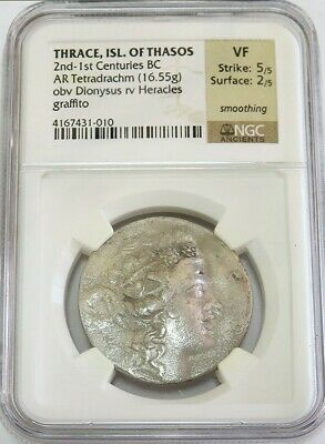 2nd-1st CENTURIES BC SILVER THRACE ISL THASOS DIONYSUS TETRADRACHM NGC VERY FINE