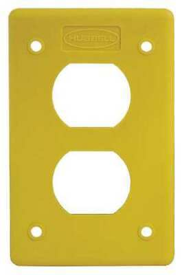 HUBBELL WIRING DEVICE-KELLEMS HBLP8FSY Duplex Cover Plate,Non-Metallic,Yellow