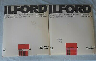 Ilford Photographic Paper- 2.1M & 4.44M- 8x10- 2pkgs/25 Pages each- unopened