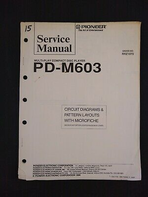 Pioneer Service Manual Circuit Diagrams Microfiche Order No RRZ1070 for PD-M603