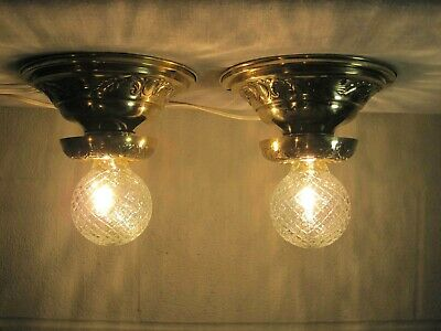 Antique Pair Ceiling Light Fixtures Brass Restored  Porcelain Sockets Working