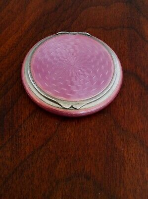 - Adolf Kander Sterling Silver & Pink Guilloche Enamel Compact: Berlin 1882–1939