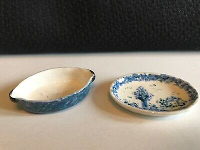 Vintage Miniature Doll House Porcelain Tray And Dish