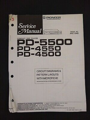 Pioneer Service Manual Circuit Diagrams Microfiche Order No ARZ1948 for PD-5500