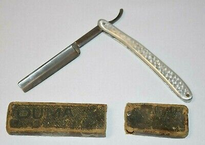 Vintage Hand Made H.M.C. The Bossing Straight Razor & Case w Steel Metal Handle