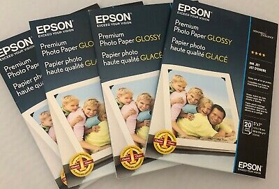 4 Packs Epson Premium Photo Paper, 68 lbs, High-Gloss, 5 x 7, 20 Sheets/Pack