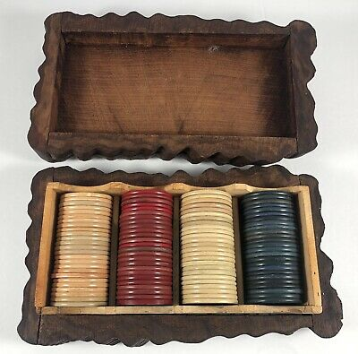 Vintage Poker Chips with Box