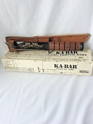 KA-BAR USMC Fighting Knife with Sheath Hunting Utility Original Box Paperwork
