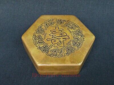 Collect Ancient Chinese Copper Ink Box Carving Five Bat Blessing Shou Decoration