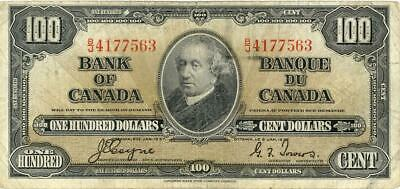 Canada $100 Dollars Currency Banknote 1937