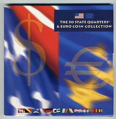 2002 The 50 State Quarters & Euro Coin Collection - 19 Bu Coins In Mint Folder