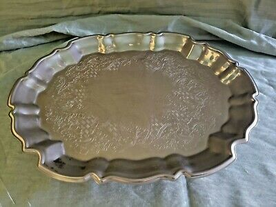 Vintage Leonard Silver Plate Footed Engraved Baroque Oval / oblong Tray