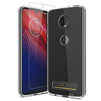 For Motorola Moto Z4 Clear Slim TPU Case Cover + Tempered Glass Screen Protector