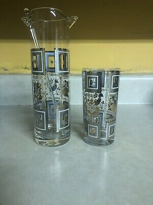 Vintage GEORGES BRIARD ?? Martini Pitcher And Glass Gold Egyptian Style