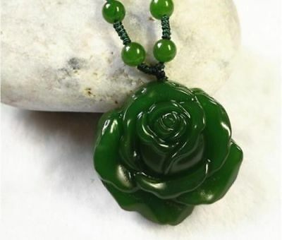 Natural jade Hand-carved beautiful flower pendant necklace Good Luck 花开富贵