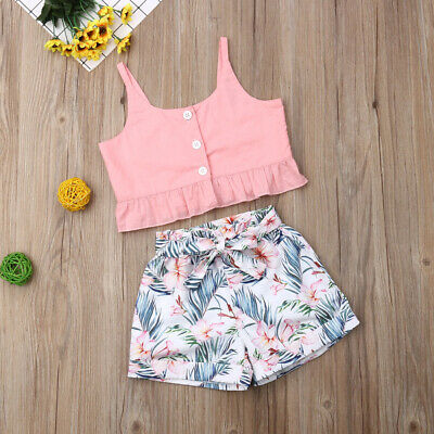 Toddler Baby Girl Clothes Sleeveless Vest Tops+Flower Shorts Pants Outfit Summer
