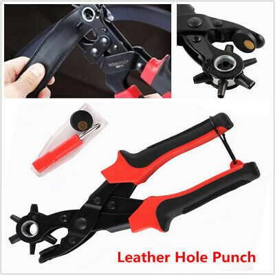 Leather Hole Punch Belt Puncher Tool Hole Maker Heavy Duty Revolving Rotary Kit