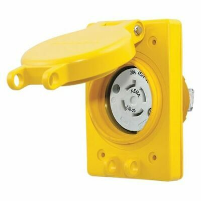 HUBBELL WIRING DEVICE-KELLEMS HBL67W76 20A Watertight Locking Receptacle 3P 4W