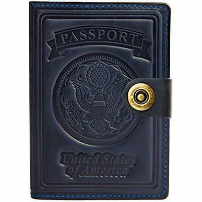Passport Wallets - Leather RFID Blocking US Holder Cover Card Travel Case (Navy
