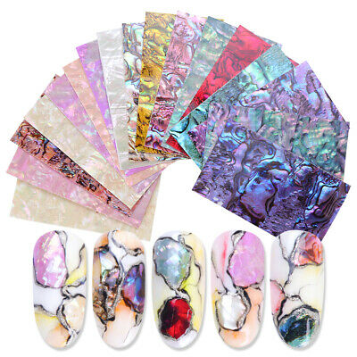 Design Nail Art Sticker Marble Slices Shell Abalone Gradient Mermaid Flakes~