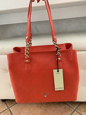 GUESS LUXE borsa in pelle rossa fashion red leather Shopper bag €270 | eBay