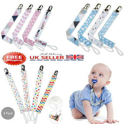 4 X Dummy Clip Baby Soother Clips Chain Holder Strap Pacifier Modern Design