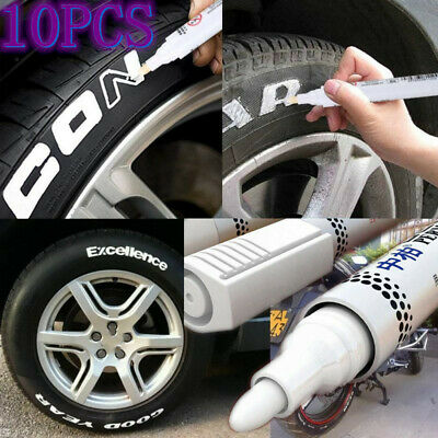 10PC White Waterproof Oil Based Pen Paint Marker For Mitsubishi Tire Wheel Tread