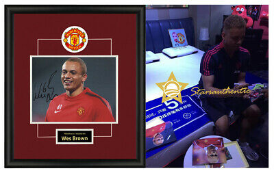 Wes Brown signed autographed photo sasigned coa proof Manchester United