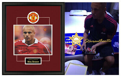 Wes Brown Manchester United signed autographed photo sasigned coa proof