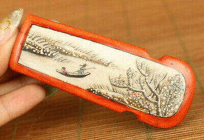 Rare collect chinese porcelain hand painting snow-covered landscape snuff bottle