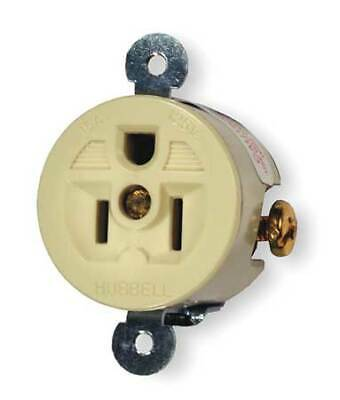 HUBBELL WIRING DEVICE-KELLEMS HBL5258I 15A Single Receptacle 125VAC 5-15R IV