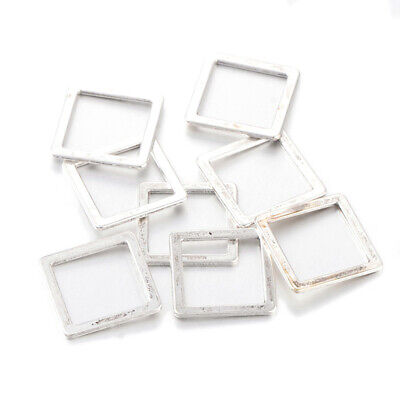 10pcs Antiqued Alloy Hollow Rhombus Connectors Smooth Linking Rings Silver 24mm