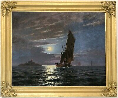 Sailing by Moonlight Antique Oil Painting by Johan Eggers (Swedish, 1855-1907)