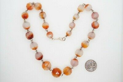 PRETTY ANTIQUE GEORGIAN ENGLISH GOLD FILLED FACETED AGATE BEAD NECKLACE c1820