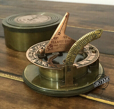 Brass Nautical compass sundial clock with box working reproduction