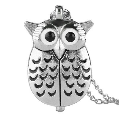 Quartz Pocket Watch Slivery Owl Pendant with Chain Arabic Numerals Dial Gifts
