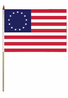 "(2 Pack) 12x18 12""x18"" Historical Betsy Ross 13 Stars Stick Flag wood Staff"