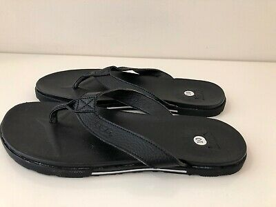 f34f23c8f92 UGG BENNISON II Leather Cork Men's Flip Flops Thongs Black Size 13 ...