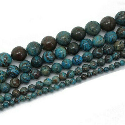 """Natural Stone Blue Black Crazy Lace Agate Round Ball Loose Bead 15.5"""" DW27"""