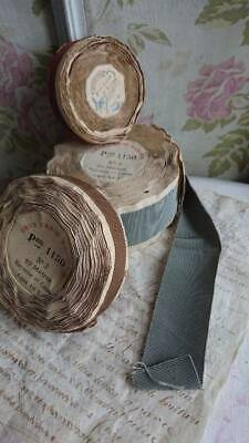 GORGEOUS BATCH 3 ROLLS ANTIQUE FRENCH GROSSGRAIN RIBBONS c1910