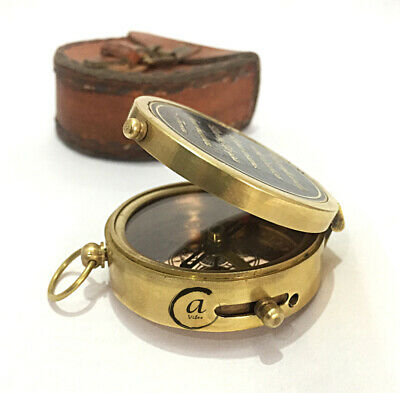 Antique War Compass Ledertasche Box Maritime Compasses Replica Vintage Decor 2""