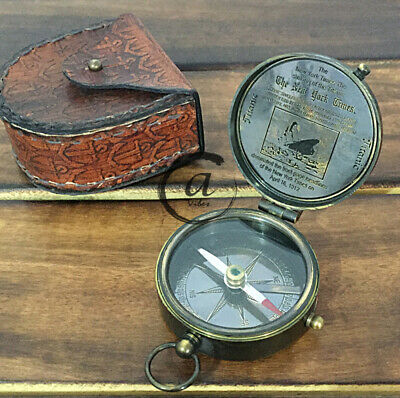 German Police Navigation Gift Navigation Clock Compass and Leather Pouch Vintage