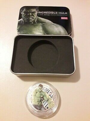Marvel Avengers 'incredible hulk' Collectors Coin 1ozSilver Plated With Tin Gift
